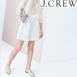 J crew white lace stripe pleated front mini skirt